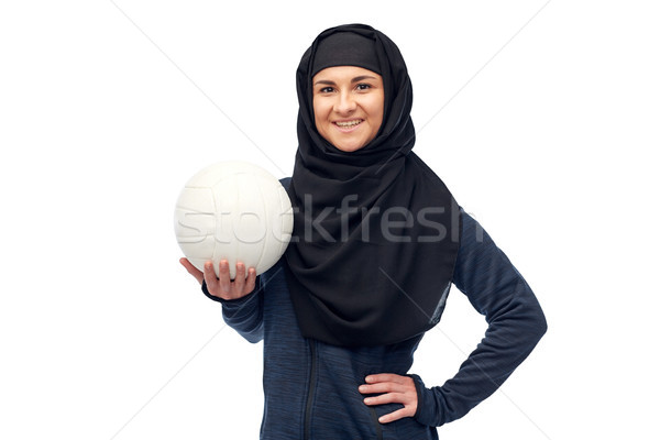счастливым мусульманских женщину хиджабе волейбол спорт Сток-фото © dolgachov