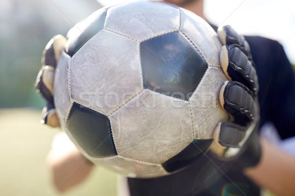 Torhüter Ball spielen Fußball Sport Stock foto © dolgachov