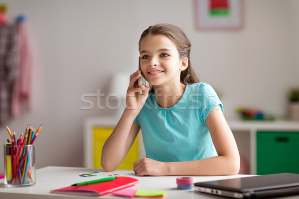 happy girl calling on smartphone at home Stock photo © dolgachov