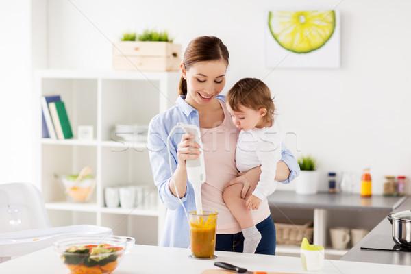Stock fotó: Boldog · anya · baba · főzés · étel · otthon