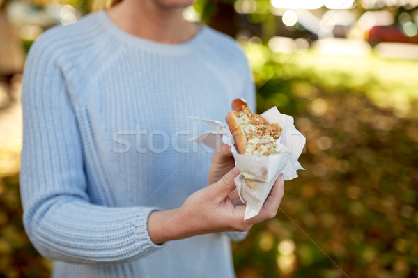 女性 ホットドッグ ファストフード 人 不健康な食事 ストックフォト © dolgachov