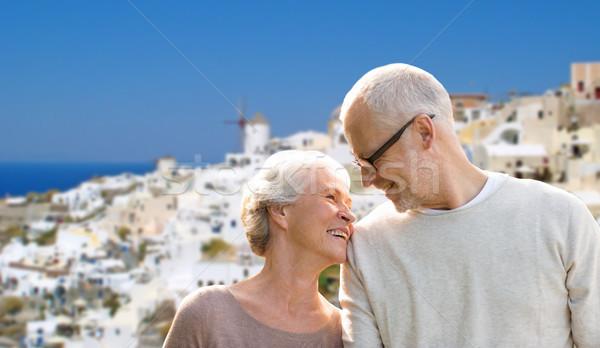 Feliz casal de idosos santorini ilha turismo viajar Foto stock © dolgachov