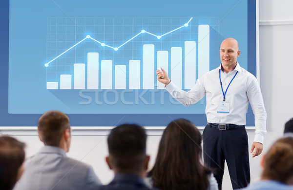 Gruppe Menschen Business Konferenz Vortrag Statistik Menschen Stock foto © dolgachov