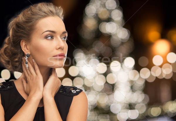 женщину ювелирные Рождества фары праздников Сток-фото © dolgachov