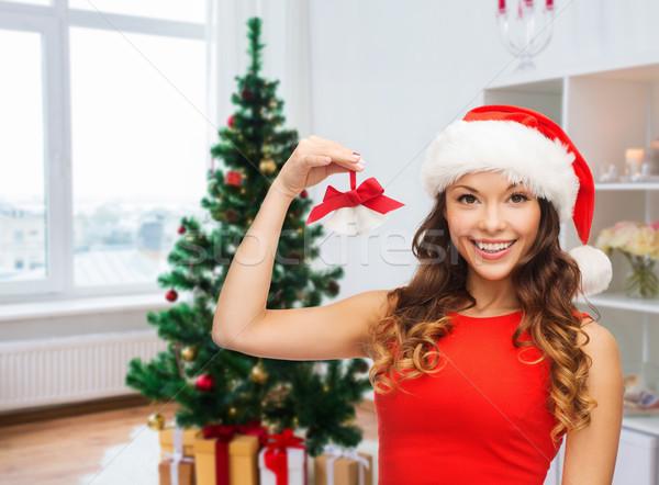 Nő mikulás segítő kalap karácsony karácsony Stock fotó © dolgachov