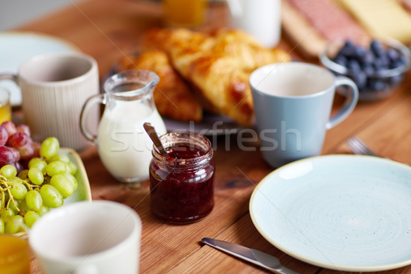 jar with jam on wooden table at breakfast Stock photo © dolgachov