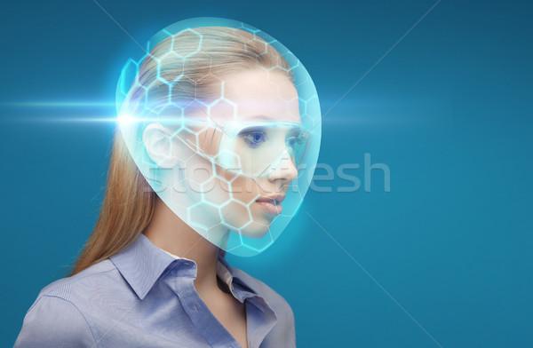 Kobieta faktyczny kask okulary ochronne niebieski przyszłości Zdjęcia stock © dolgachov