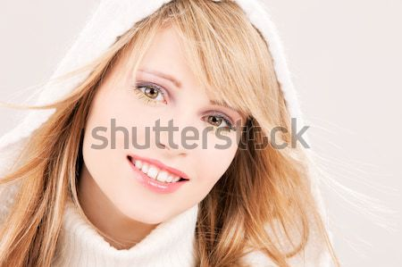 lovely teenage girl in hoodie Stock photo © dolgachov