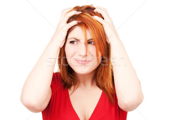 Unglücklich Rotschopf Frau Bild weiß traurig Stock foto © dolgachov
