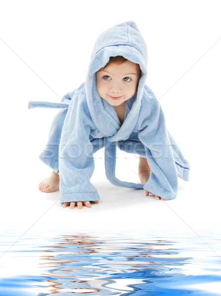 Baby ragazzo blu robe bianco acqua Foto d'archivio © dolgachov