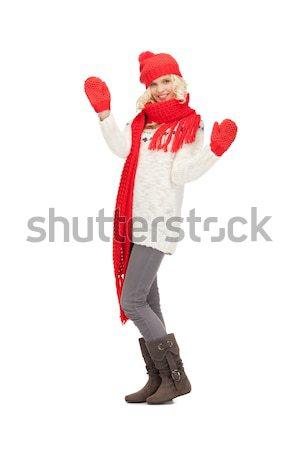 beautiful woman in hat, muffler and mittens Stock photo © dolgachov