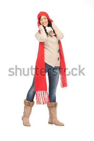 Mooie vrouw hoed wanten heldere foto Stockfoto © dolgachov