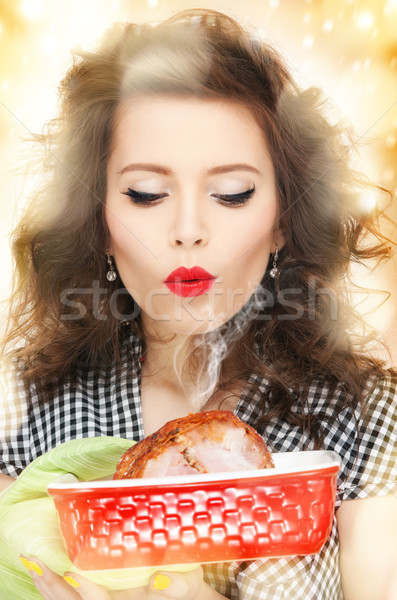 lovely housewife with meat Stock photo © dolgachov