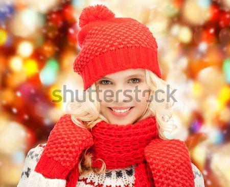 Mujer hermosa sombrero mitones brillante Foto Foto stock © dolgachov