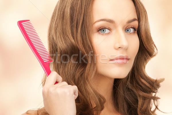 Bela mulher pente brilhante quadro mulher cara Foto stock © dolgachov