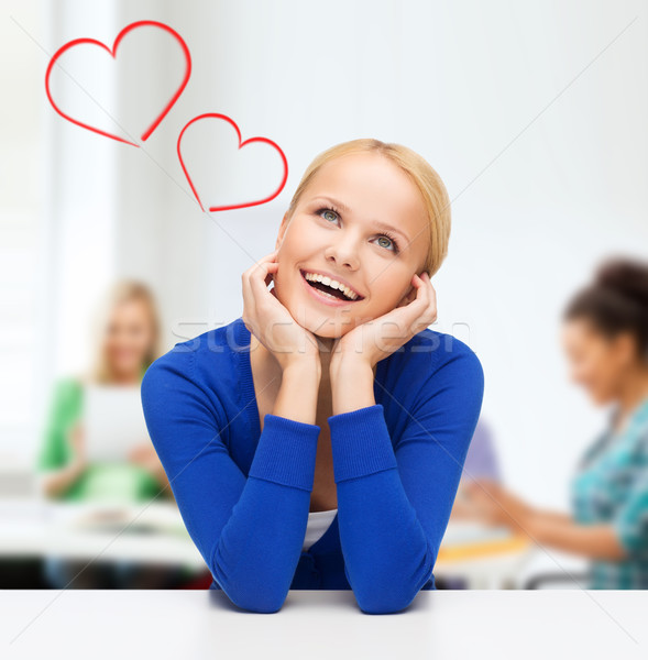 happy woman dreaming and laughing Stock photo © dolgachov
