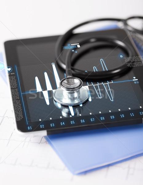 tablet pc, stethoscope and electrocardiogram Stock photo © dolgachov