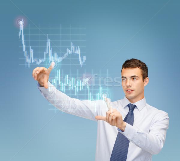 Man werken forex grafiek virtueel scherm Stockfoto © dolgachov