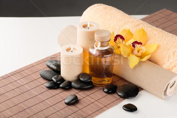 Foto d'archivio: Massaggio · pietre · orchidea · fiore · spa