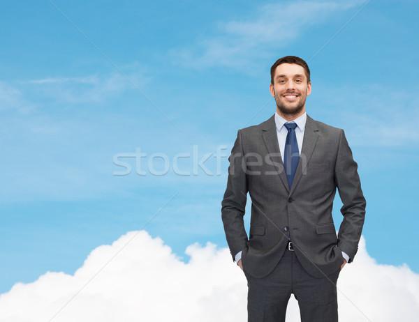 Guapo negocios empresario traje cielo ejecutivo Foto stock © dolgachov