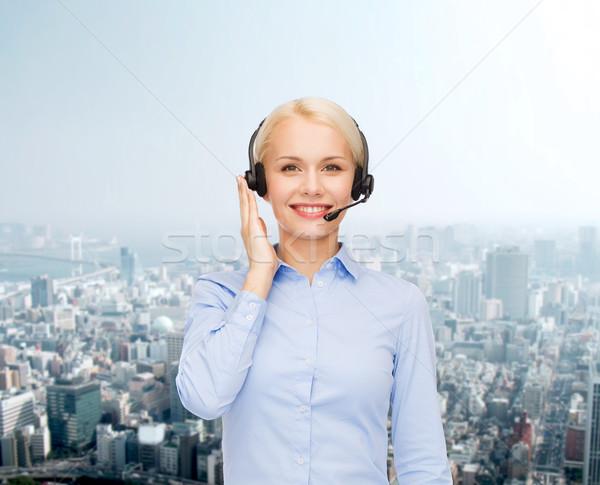 Dostça kadın yardım hattı operatör iş teknoloji Stok fotoğraf © dolgachov