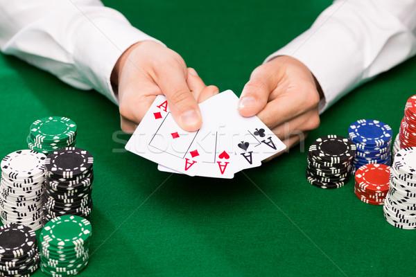 Stockfoto: Poker · speler · kaarten · chips · casino · gokken