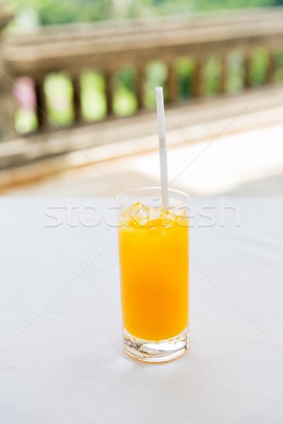 Szkła świeże pomarańczy soku restauracji napojów Zdjęcia stock © dolgachov