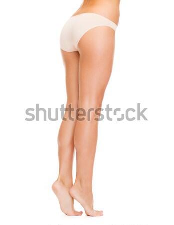 Femme longues jambes coton sous-vêtements santé beauté Photo stock © dolgachov