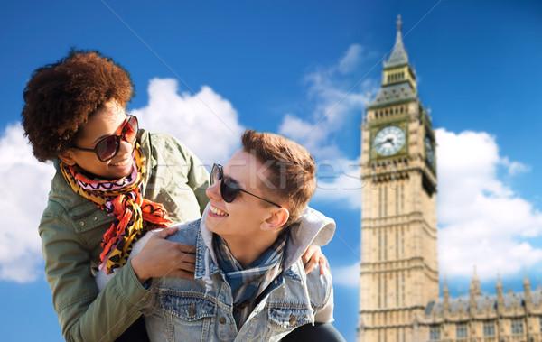 Stockfoto: Gelukkig · paar · Big · Ben · toren
