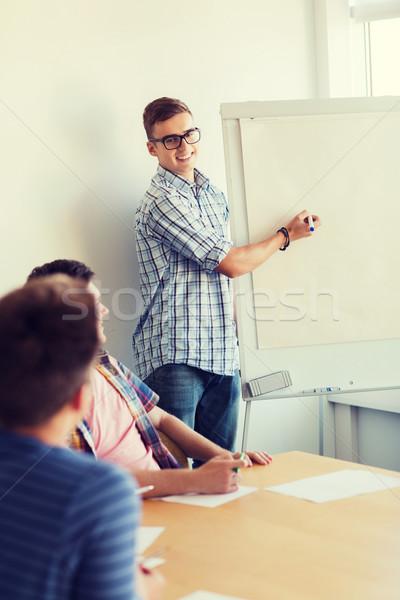 グループ 笑みを浮かべて 学生 ホワイトボード 教育 チームワーク ストックフォト © dolgachov