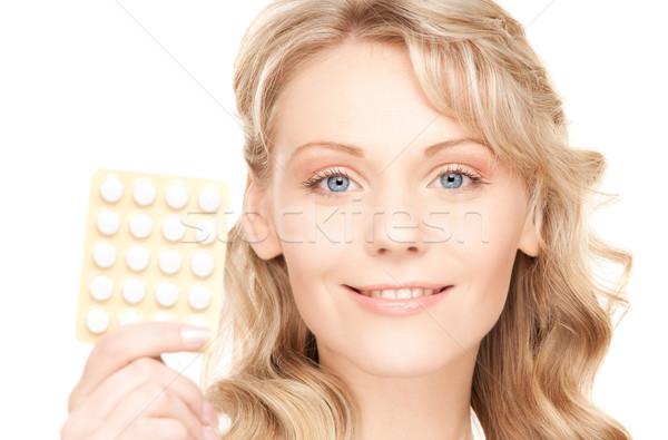таблетки фотография белый женщину медицинской Сток-фото © dolgachov