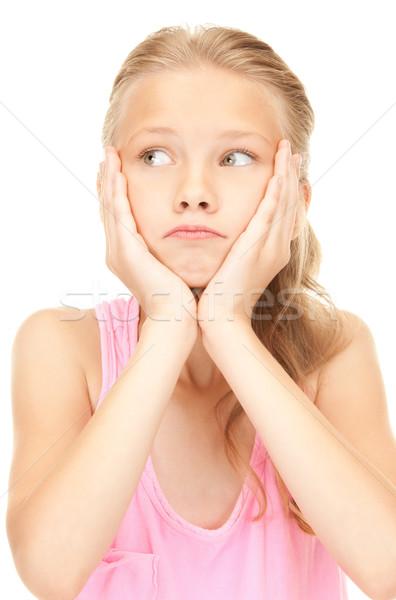 Unglücklich Mädchen hellen Bild weiß Studenten Stock foto © dolgachov