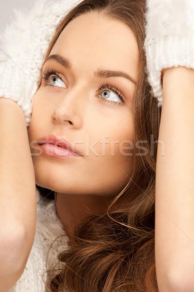 Bella donna bianco guanti foto donna faccia Foto d'archivio © dolgachov