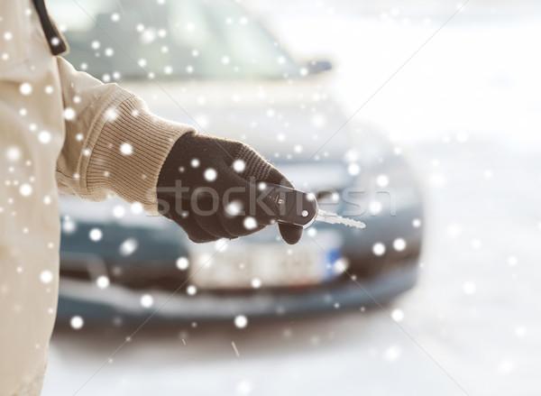 男 車のキー 屋外 交通 人 ストックフォト © dolgachov