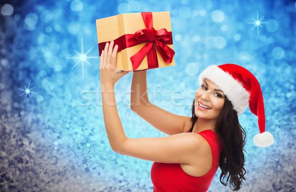 Heureux femme chapeau cadeau glitter Photo stock © dolgachov
