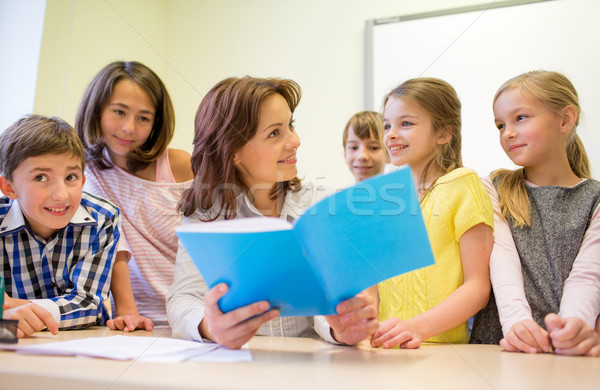 group of school kids with teacher in classroom Stock photo © dolgachov