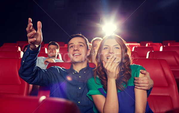 Felice amici guardare film teatro cinema Foto d'archivio © dolgachov