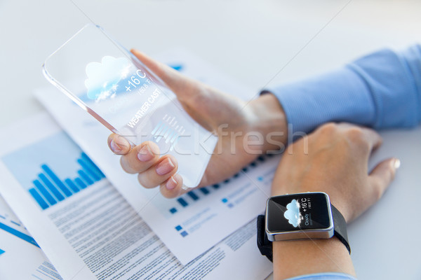 hand with weather app on smartphone and smartwatch Stock photo © dolgachov