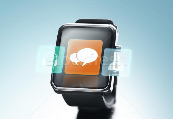 Zwarte smart horloge boodschapper icon Stockfoto © dolgachov
