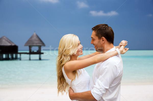 Mutlu çift plaj bungalov yaz Stok fotoğraf © dolgachov