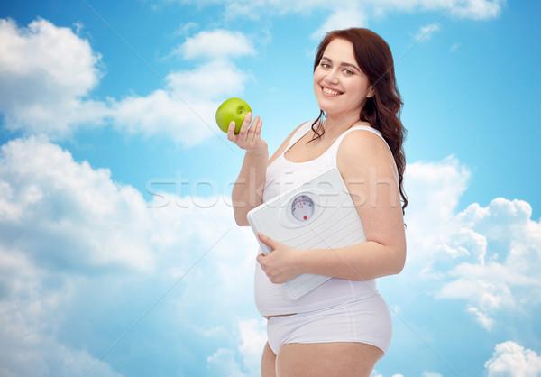 幸せ 小さな プラスサイズ 女性 スケール ストックフォト © dolgachov