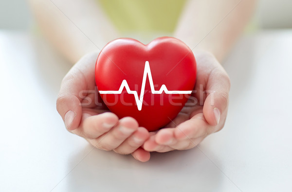 close up of hand with cardiogram on red heart Stock photo © dolgachov