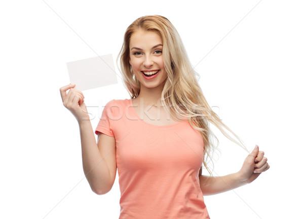 счастливым женщину подростка девушка белый бумаги реклама Сток-фото © dolgachov