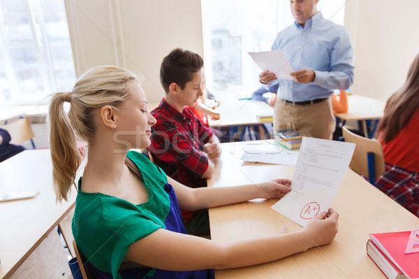 группа студентов учитель Результаты тестов образование школы Сток-фото © dolgachov