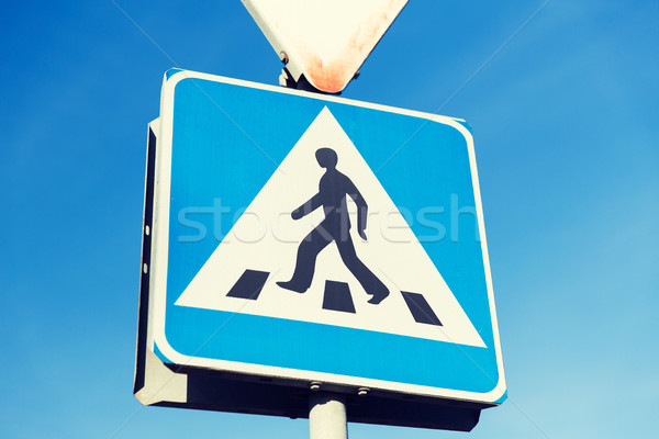 close up of pedestrian crosswalk road sign Stock photo © dolgachov