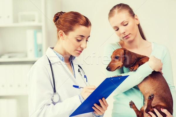 женщину собака врач ветеринар клинике медицина Сток-фото © dolgachov