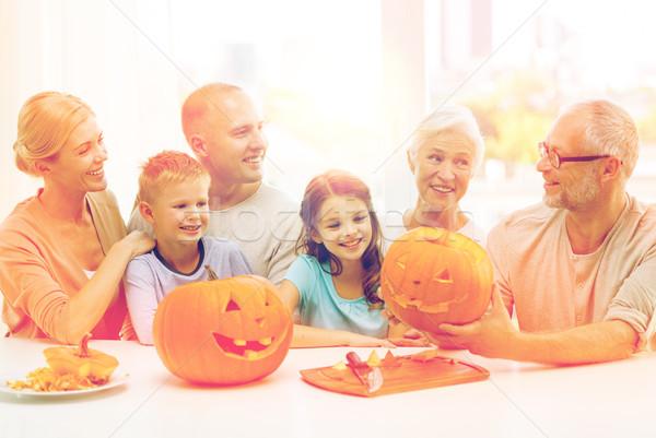 Boldog család ül tökök otthon család boldogság Stock fotó © dolgachov