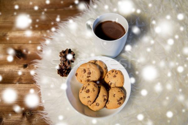 Gorąca czekolada cookie futra dywan wakacje Zdjęcia stock © dolgachov