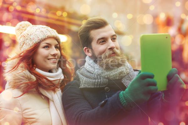 Stock fotó: Pár · elvesz · táblagép · óváros · ünnepek · tél