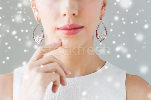 美人 顔 イヤリング クリスマス 休日 ストックフォト © dolgachov